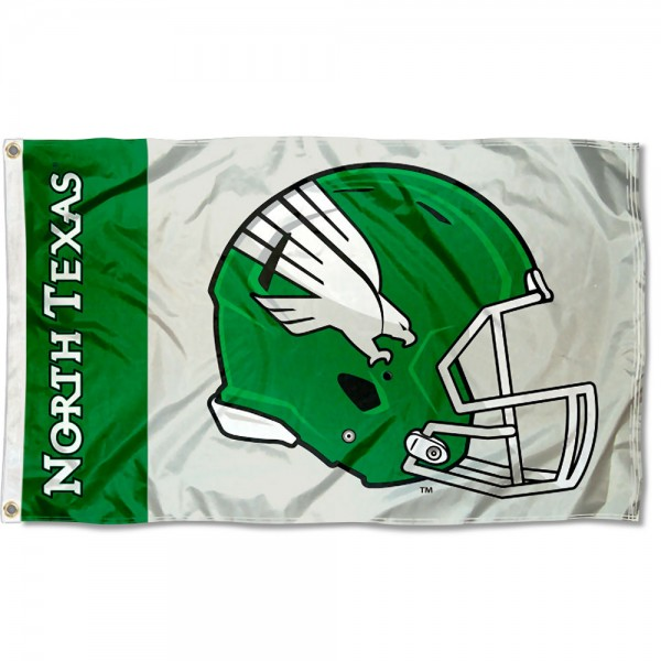 UNT Mean Green Football Helmet Flag measures 3x5 feet, is made of 100% polyester, offers quadruple stitched flyends, has two metal grommets, and offers screen printed NCAA team logos and insignias. Our UNT Mean Green Football Helmet Flag is officially licensed by the selected university and NCAA.