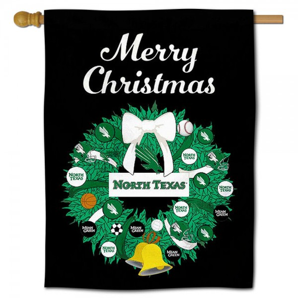 UNT Mean Green Happy Holidays Banner Flag measures 30x40 inches, is made of poly, has a top hanging sleeve, and offers dye sublimated UNT Mean Green logos. This Decorative UNT Mean Green Happy Holidays Banner Flag is officially licensed by the NCAA.
