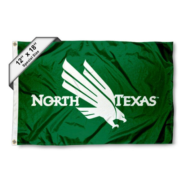 UNT Mean Green Mini Flag is 12x18 inches, polyester, offers quadruple stitched flyends for durability, has two metal grommets, and is double sided. Our mini flags for UNT Mean Green are licensed by the university and NCAA and can be used as a boat flag, motorcycle flag, golf cart flag, or ATV flag.