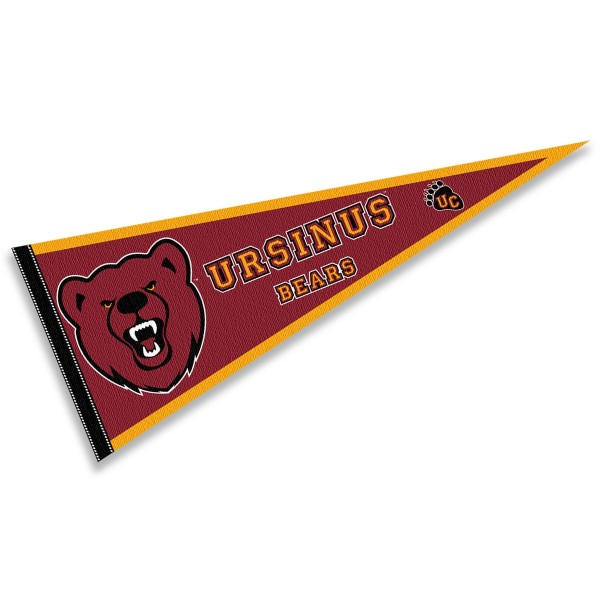 Ursinus College Bears Pennant consists of our full size sports pennant which measures 12x30 inches, is constructed of felt, is single sided imprinted, and offers a pennant sleeve for insertion of a pennant stick, if desired. This Ursinus College Bears Pennant Decorations is Officially Licensed by the selected university and the NCAA.