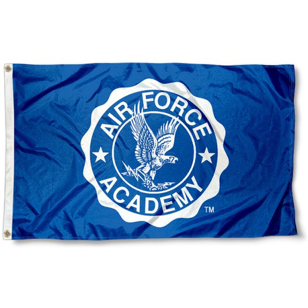 US Air Force Academy Flag measures 3'x5', is made of 100% poly, has quadruple stitched sewing, two metal grommets, and has double sided Team University logos. Our US Air Force Academy Flag is officially licensed by the selected university and the NCAA.