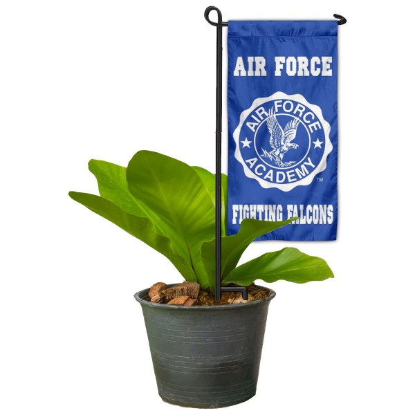 "US Air Force Flower Pot Topper Flag kit includes our 4""x8"" mini garden banner and 6"" x 14"" mini garden banner stand. The mini flag is made of 1-ply polyester, has screen printed logos and the garden stand is made of steel and powder coated black. This kit is NCAA Officially Licensed by the selected college or university."