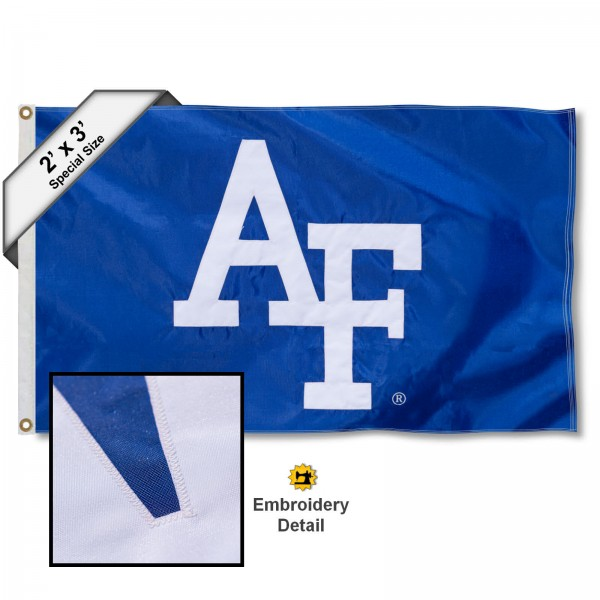 US Air Force Small 2'x3' Flag measures 2x3 feet, is made of 100% nylon, offers quadruple stitched flyends, has two brass grommets, and offers embroidered US Air Force logos, letters, and insignias. Our US Air Force Small 2'x3' Flag is Officially Licensed by the selected university.
