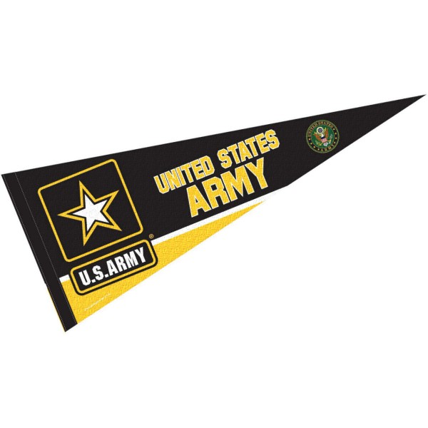 US Army Insignia Seal Pennant is 12x30 inches, is made of wool and felt, has a pennant stick sleeve, and the US Army logos are single sided screen printed. Our US Army Insignia Seal Pennant is licensed by the university.