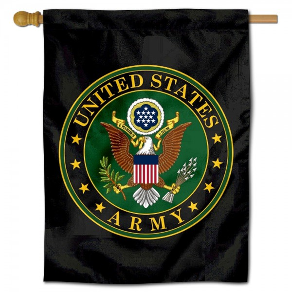 "US Army Seal House Flag is a double sided vertical house flag which measures 30"" x 40"" inches, is made of thick 100% polyester, offers screen printed NCAA team insignias, and has a top pole sleeve to hang vertically. Our US Army Seal House Flag is officially licensed by the selected university and the NCAA and is double sided."