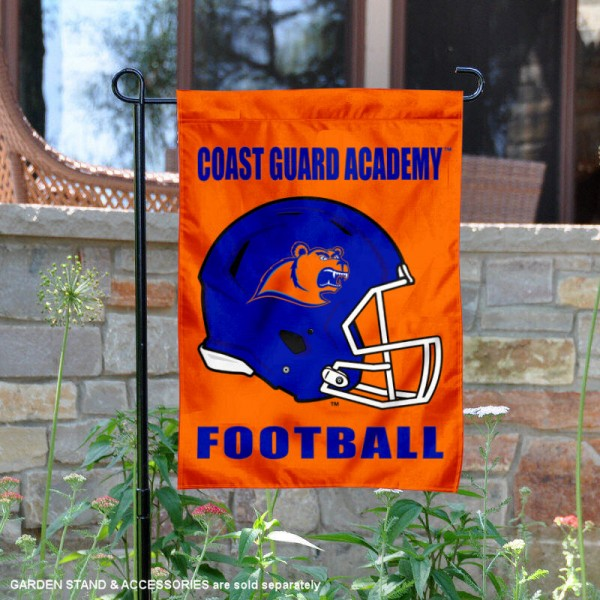 US Coast Guard Academy Football Helmet Garden Banner is 13x18 inches in size, is made of 2-layer polyester, screen printed US Coast Guard Academy athletic logos and lettering. Available with Same Day Express Shipping, Our US Coast Guard Academy Football Helmet Garden Banner is officially licensed and approved by US Coast Guard Academy and the NCAA.