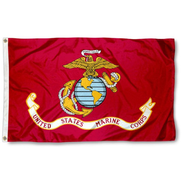 US Marines Flag measures 3x5 feet, is made of 100% nylon, offers quadruple stitched flyends, has two metal grommets, and offers screen printed NCAA team logos and insignias. Our US Marines Flag is officially licensed by the selected university and NCAA