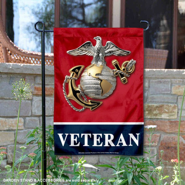 US Marines Veteran Garden Flag is 12x18 inches in size, is made of 1-layer polyester, screen printed logos and lettering, and is viewable on both sides. Available same day shipping, our US Marines Veteran Garden Flag is officially licensed and approved by the university and the NCAA.