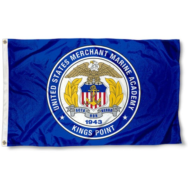 US Merchant Marine Mariners Seal Flag measures 3x5 feet, is made of 100% polyester, offers quadruple stitched flyends, has two metal grommets, and offers screen printed NCAA team logos and insignias. Our US Merchant Marine Mariners Seal Flag is officially licensed by the selected university and NCAA.