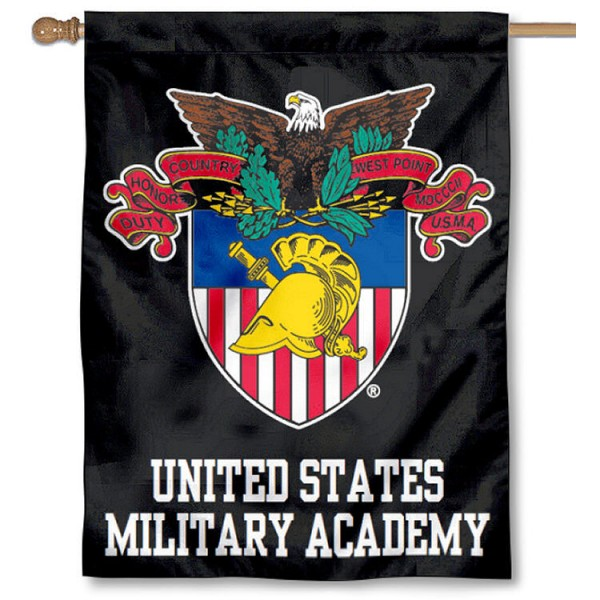 US Military Academy Seal Flag is a vertical house flag which measures 30x40 inches, is made of double sided 100% polyester, offers embroidered college team insignias, and has a top pole sleeve to hang vertically. Our USMA Seal Flag is officially licensed by the selected university and the NCAA.