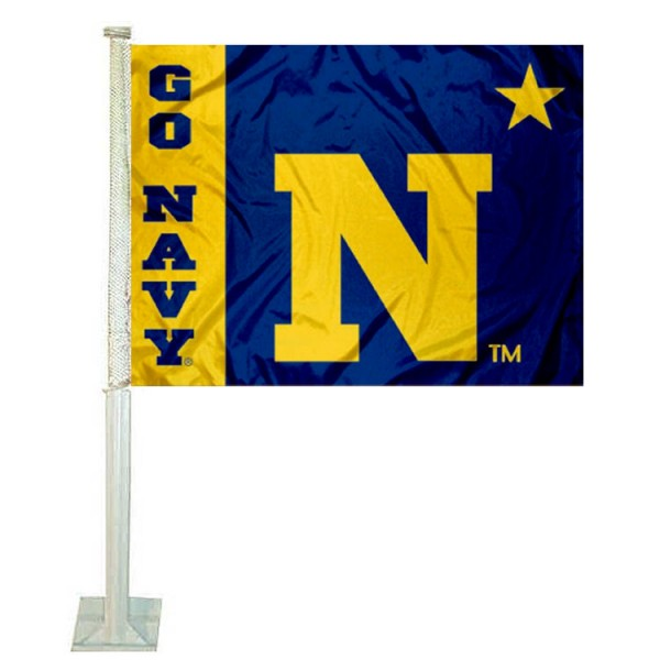US Navy Car Flag measures 12x15 inches, is constructed of sturdy 2 ply polyester, and has screen printed school logos which are readable and viewable correctly on both sides. US Navy Car Flag is officially licensed by the NCAA and selected university