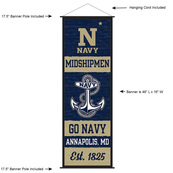 "This ""ready to hang"" US Navy Decor and Banner is made of polyester material, measures a large 17.5"" x 48"", offers screen printed athletic logos, and includes both top and bottom 3/4"" diameter plastic banner poles and hanging cord. Our US Navy D�cor and Banner is Officially Licensed by the selected college and NCAA."