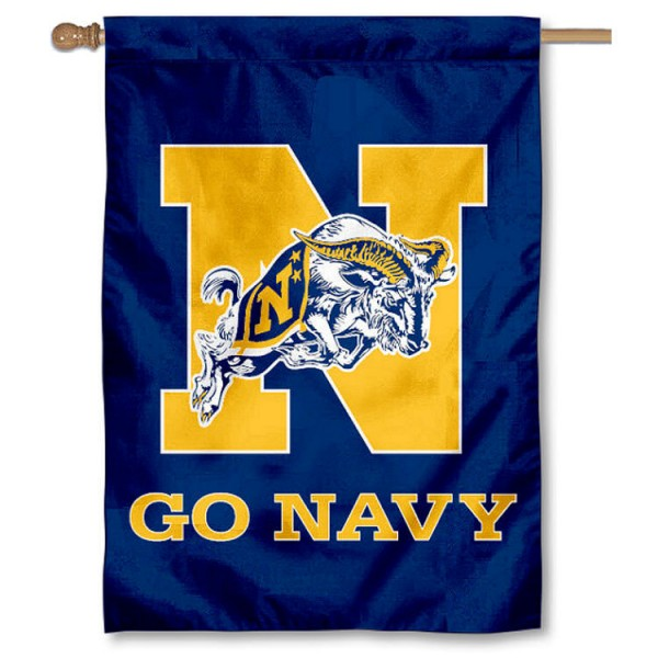 US Navy Double Sided Banner is a vertical house flag which measures 28x40 inches, is made of 2 ply 100% nylon, offers screen printed NCAA team insignias, and has a top pole sleeve to hang vertically. Our US Navy Double Sided Banner is officially licensed by the selected university and the NCAA.