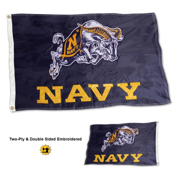 US Navy Flag measures 3'x5' in size, is made of 2 layer embroidered 100% nylon, has quadruple stitched fly ends for durability, and is viewable and readable correctly on both sides. Our US Navy Flag is officially licensed by the university, school, and the NCAA