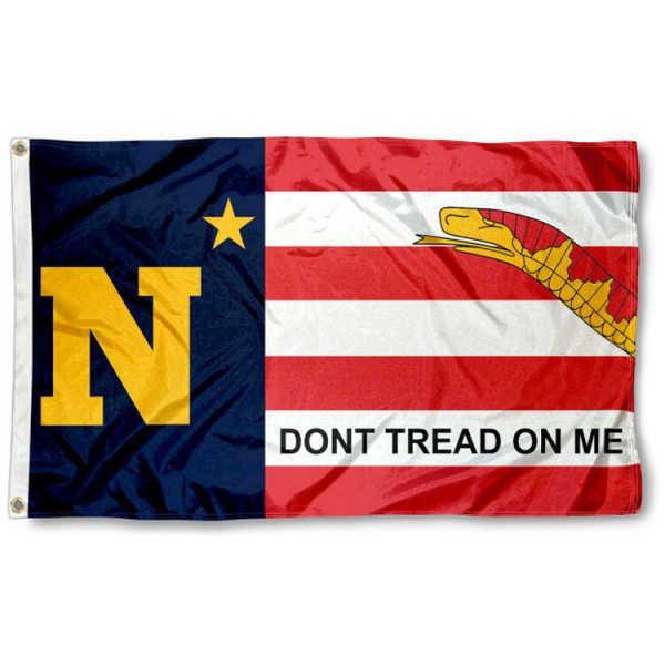 US Navy Midshipmen Dont Tread on Me Flag is made of 100% nylon, offers quad stitched flyends, measures 3x5 feet, has two metal grommets, and is viewable from both side with the opposite side being a reverse image. Our US Navy Midshipmen Dont Tread on Me Flag is officially licensed by the selected college and NCAA