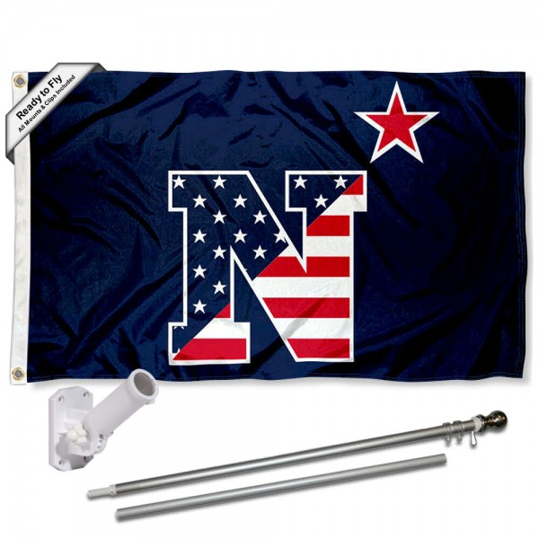 Our US Navy Midshipmen Flag Pole and Bracket Kit includes the flag as shown and the recommended flagpole and flag bracket. The flag is made of nylon, has quad-stitched flyends, and the NCAA Licensed team logos are double sided screen printed. The flagpole and bracket are made of rust proof aluminum and includes all hardware so this kit is ready to install and fly.