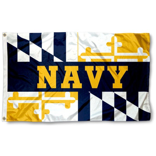 US Navy Midshipmen MD State Design Flag is made of 100% nylon, offers quad stitched flyends, measures 3x5 feet, has two metal grommets, and is viewable from both side with the opposite side being a reverse image. Our US Navy Midshipmen MD State Design Flag is officially licensed by the selected college and NCAA