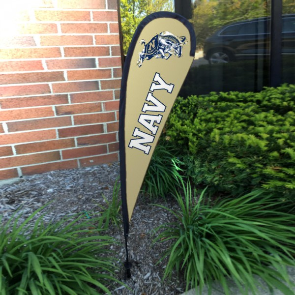 US Navy Midshipmen Small Feather Flag measures a 4' tall when fully assembled and roughly 1' wide. The kit includes a Feather Flag, 2 Piece Fiberglass Pole, pole connector, and matching Ground Stake. Our US Navy Midshipmen Small Feather Flag easily assembles and is NCAA Officially Licensed by the selected school or university.