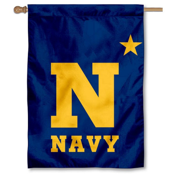 US Navy N-Star Double Sided Banner is a vertical house flag which measures 28x40 inches, is made of 2 ply 100% nylon, offers screen printed NCAA team insignias, and has a top pole sleeve to hang vertically. Our US Navy N-Star Double Sided Banner is officially licensed by the selected university and the NCAA.