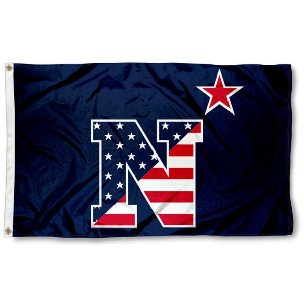US Navy Patriotic Logo Flag is made of 100% nylon, offers quad stitched flyends, measures 3x5 feet, has two metal grommets, and is viewable from both side with the opposite side being a reverse image. Our US Navy Patriotic Logo Flag is officially licensed by the selected college and NCAA