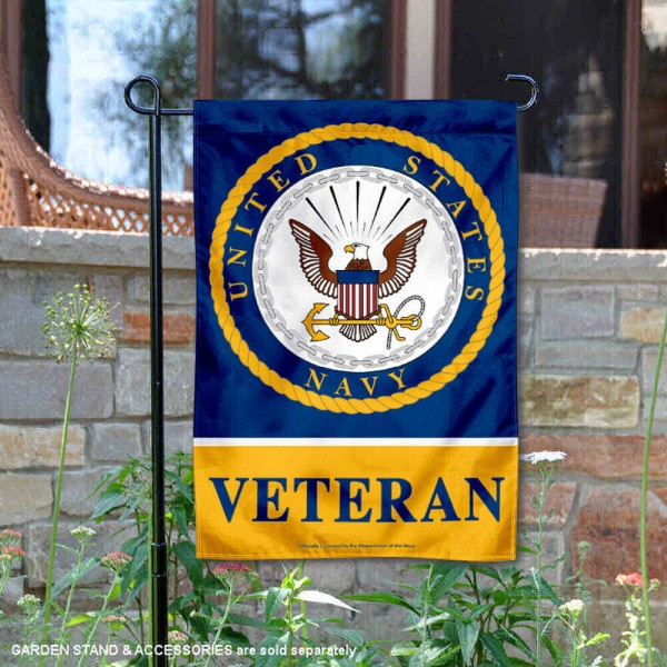 US Navy Veteran Garden Flag is 12x18 inches in size, is made of 1-layer polyester, screen printed logos and lettering, and is viewable on both sides. Available same day shipping, our US Navy Veteran Garden Flag is officially licensed and approved by the university and the NCAA.