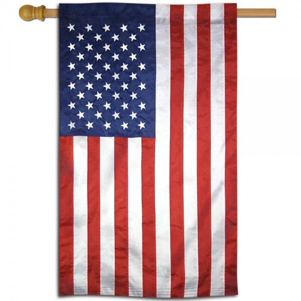 USA American Double Sided House Flag is a vertical house flag which measures 28x44 inches, is made of 2 ply 100% polyester, offers screen printed logos, and has a top pole sleeve to hang vertically. Our USA American Double Sided House Flag is a perfect gift