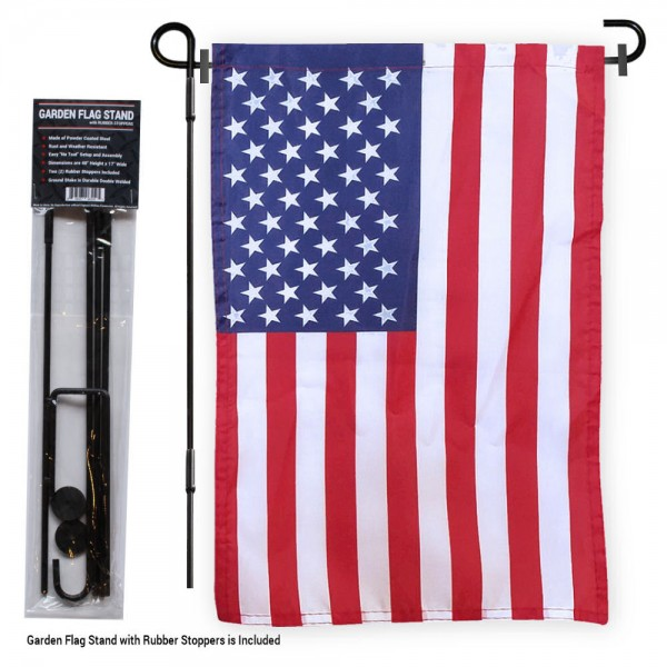 "USA Garden Flag and Pole Stand kit includes our 12""x18"" garden banner which is made of 1 ply poly with liner and has screen printed licensed logos. Also, a 40""x17"" inch garden flag stand is included so your USA Garden Flag and Pole Stand is ready to be displayed with no tools needed for setup. Fast Overnight Shipping is available."