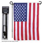 USA Garden Flag and Pole Stand