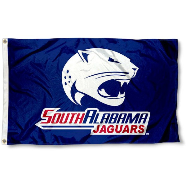 USA Jaguars Blue Outdoor Flag measures 3'x5', is made of 100% poly, has quadruple stitched sewing, two metal grommets, and has double sided USA Jaguars logos. Our USA Jaguars Logo Outdoor Flag is officially licensed by the selected university and the NCAA.