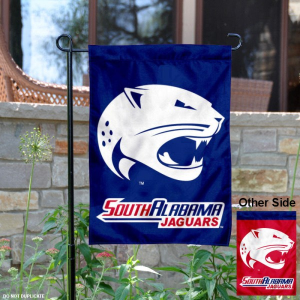 USA Jaguars Garden Flag is 13x18 inches in size, is made of 2-layer polyester, screen printed USA Jaguars athletic logos and lettering. Available with Same Day Express Shipping, Our USA Jaguars Garden Flag is officially licensed and approved by USA Jaguars and the NCAA.