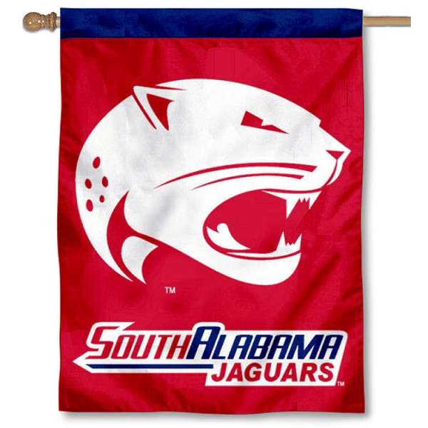 USA Jaguars House Flag measures 30x40 inches, is made of 100% polyester, offers screen printed NCAA team insignias, and has a top pole sleeve to hang vertically. Our USA Jaguars House Flag is officially licensed by the selected school and the NCAA.