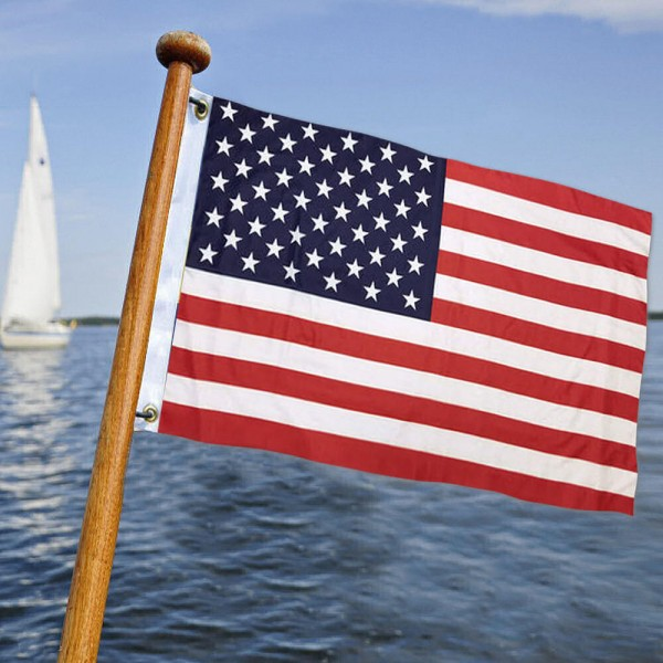 USA Left to Right Double Sided Boat Golf Cart Flag is 12x18 inches in size, made of double sided 2 ply polyester, screen printed USA stars and stripes, and provides 2 metal grommets. This Marine Flag is offered with Express Shipping if needed and is a great buy.
