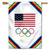 USA Olympic Rings Banner Flag