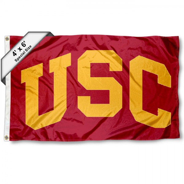 USC 4x6 Flag measures a huge 4x6 feet, is made of 100% nylon, offers quadruple stitched flyends, has two metal grommets, and offers screen printed NCAA team logos and insignias. Our USC 4x6 Flag is officially licensed by the selected university and NCAA.