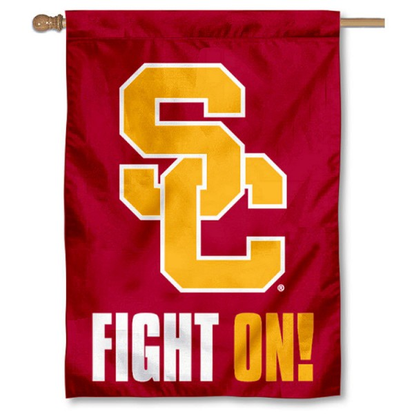 USC Banner Flag is a vertical banner flag which measures 28x40 inches, is made of 2 ply 100% nylon, offers screen printed NCAA team insignias, double sided, and has a top pole sleeve to hang vertically. Our USC Banner Flag is officially licensed by the selected university and the NCAA.