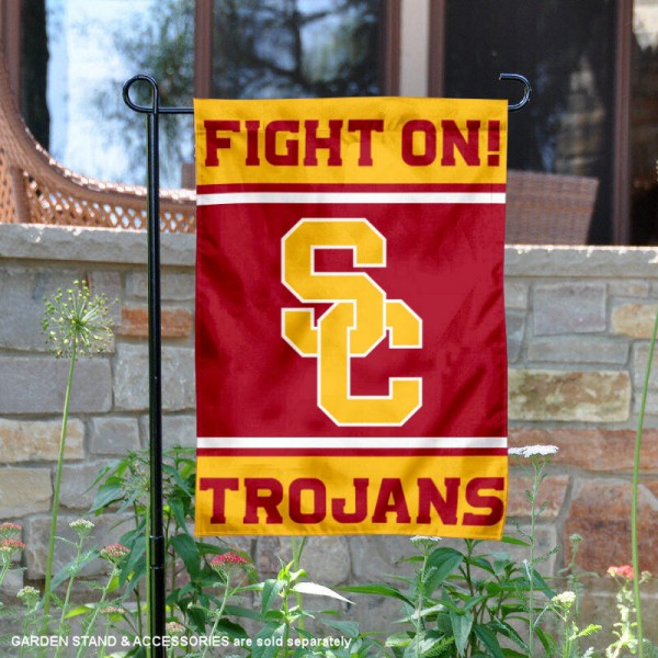 USC Fight On Trojans 2 Sided Garden Flag is 13x18 inches in size, is made of 2-layer polyester, screen printed logos and lettering. Available with Same Day Express Shipping, Our USC Fight On Trojans 2 Sided Garden Flag is officially licensed and approved by the NCAA.