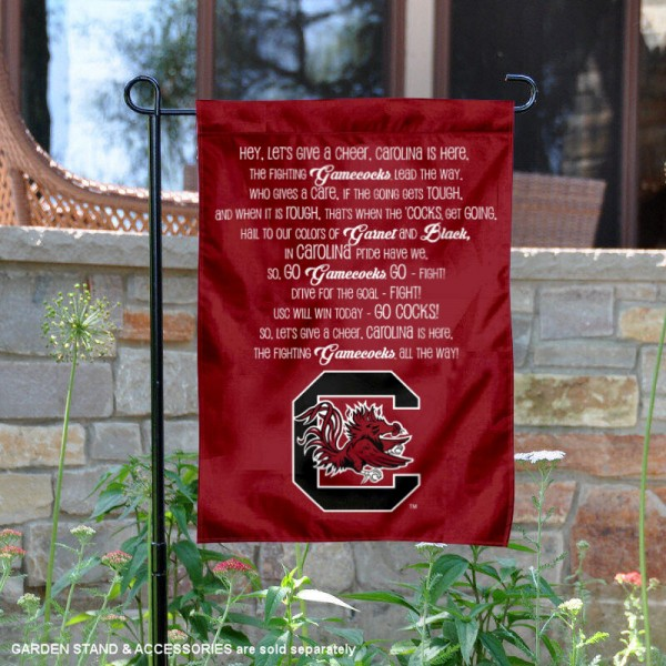 USC Gamecocks Fight Song Garden Flag is 13x18 inches in size, is made of thick blockout polyester, screen printed university athletic logos and lettering, and is readable and viewable correctly on both sides. Available same day shipping, our USC Gamecocks Fight Song Garden Flag is officially licensed and approved by the university and the NCAA.