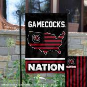 USC Gamecocks Garden Flag with USA Country Stars and Stripes