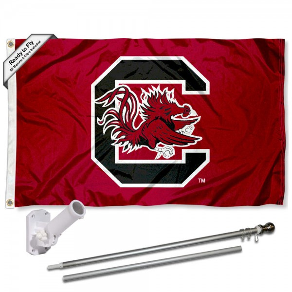 Our USC Gamecocks Garnet Flag Pole and Bracket Kit includes the flag as shown and the recommended flagpole and flag bracket. The flag is made of polyester, has quad-stitched flyends, and the NCAA Licensed team logos are double sided screen printed. The flagpole and bracket are made of rust proof aluminum and includes all hardware so this kit is ready to install and fly.