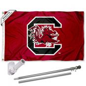 USC Gamecocks Garnet Flag Pole and Bracket Kit