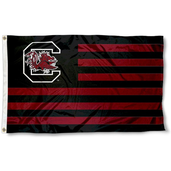 USC Gamecocks Striped Flag measures 3'x5', is made of polyester, offers double stitched flyends for durability, has two metal grommets, and is viewable from both sides with a reverse image on the opposite side. Our USC Gamecocks Striped Flag is officially licensed by the selected school university and the NCAA.