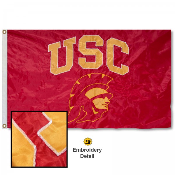 USC New Trojan Nylon Embroidered Flag measures 3'x5', is made of 100% nylon, has quadruple flyends, two metal grommets, and has double sided appliqued and embroidered University logos. These USC 3x5 Flags are officially licensed by the selected university and the NCAA.