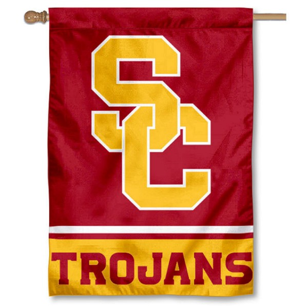 USC Trojans 2-Sided Home Flag is a vertical house flag which measures 28x40 inches, is made of 2 ply 100% nylon, offers screen printed NCAA team insignias, and has a top pole sleeve to hang vertically. Our USC Trojans 2-Sided Home Flag is officially licensed by the selected university and the NCAA.