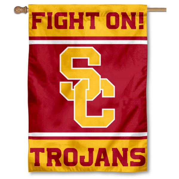 USC Trojans Double Sided Banner is a vertical house flag which measures 28x40 inches, is made of 2 ply 100% nylon, offers screen printed NCAA team insignias, and has a top pole sleeve to hang vertically. Our USC Trojans Double Sided Banner is officially licensed by the selected university and the NCAA.