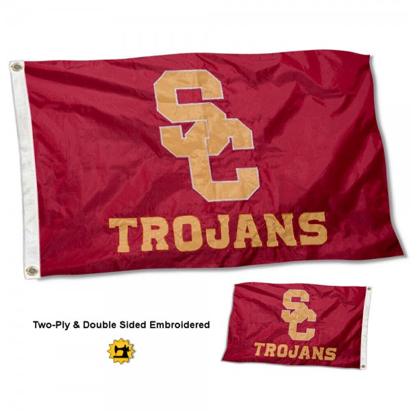 USC Trojans Double Sided Embroidered Flag measures 3'x5' in size, is made of 2 layer embroidered 100% nylon, has quadruple stitched fly ends for durability, and is viewable and readable correctly on both sides. Our USC Trojans Double Sided Embroidered Flag is officially licensed by the university, school, and the NCAA