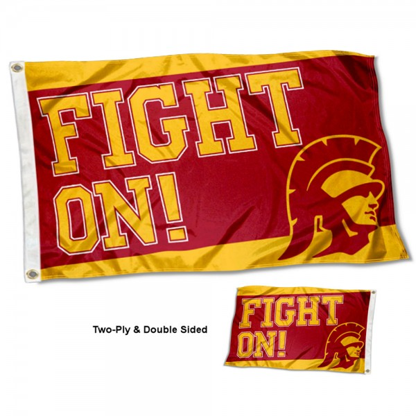 USC Trojans Double Sided Fight On Flag measures 3'x5', is made of 2 layer 100% nylon, has quadruple stitched flyends for durability, and is readable correctly on both sides. Our USC Trojans Double Sided Fight On Flag is officially licensed by the university, school, and the NCAA.