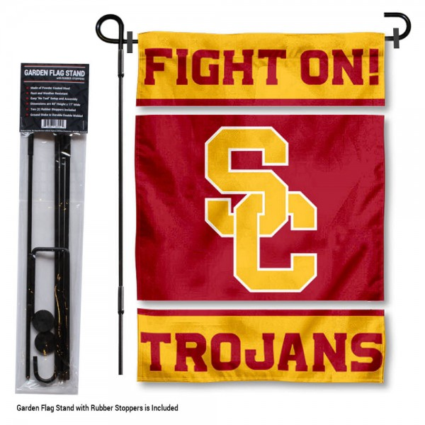 "USC Trojans Garden Flag and Stand kit includes our 13""x18"" garden banner which is made of 2 ply poly with liner and has screen printed licensed logos. Also, a 40""x17"" inch garden flag stand is included so your USC Trojans Garden Flag and Stand is ready to be displayed with no tools needed for setup. Fast Overnight Shipping is offered and the flag is Officially Licensed and Approved by the selected team."