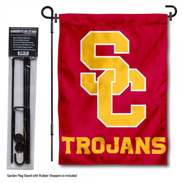 """USC Trojans Garden Flag and Stand kit includes our 13""""x18"""" garden banner which is made of 2 ply poly with liner and has screen printed licensed logos. Also, a 40""""x17"""" inch garden flag stand is included so your USC Trojans Garden Flag and Stand is ready to be displayed with no tools needed for setup. Fast Overnight Shipping is offered and the flag is Officially Licensed and Approved by the selected team."""