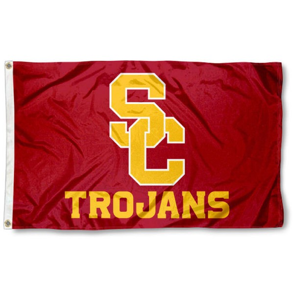 USC Trojans New SC Flag is made of 100% nylon, offers quad stitched flyends, measures 3x5 feet, has two metal grommets, and is viewable from both side with the opposite side being a reverse image. Our USC Trojans New SC Flag is officially licensed by the selected college and NCAA