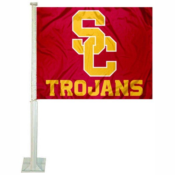USC Trojans New SC Logo Car Flag measures 12x15 inches, is constructed of sturdy 2 ply polyester, and has screen printed school logos which are readable and viewable correctly on both sides. USC Trojans New SC Logo Car Flag is officially licensed by the NCAA and selected university.